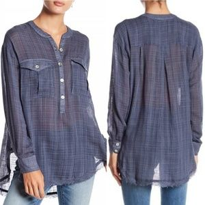 Free People Blue Talk To Me Gauzey Button Down Top